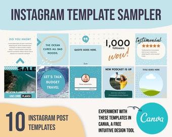 Instagram template beach, teal instagram template, instagram template for travelers, beach instagram templates, social media templates spa