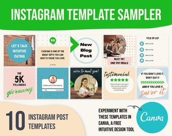 Instagram template post food, canva template instagram quote, instagram template coach, instagram template colorful
