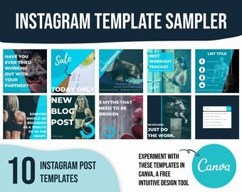 Fitness instagram template, social media templates fitness, fitness social media templates, canva template for beachbody, template for coach