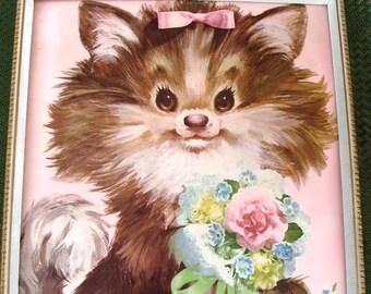 Vintage KAWAII Kitten Print Nursery Children