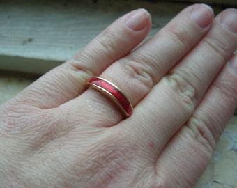 FREE SHIPPING Vintage Ring with Red Accent - Size 8