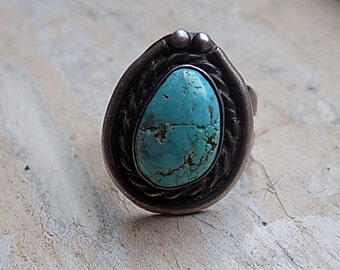 FREE SHIPPING Vintage Sterling Silver Turquoise Ring Size 5 1/2