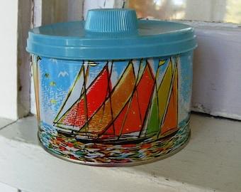 Vintage Sailing Tin with Turquoise Plastic Lid Organizer Holder
