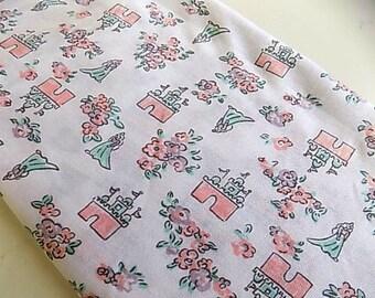 Vintage Cotton Fairytale Princess Castle Floral Fabric Pink Girls Room