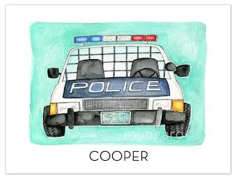 Personalized POLICE COP Car watercolor illustration art print 669e79165