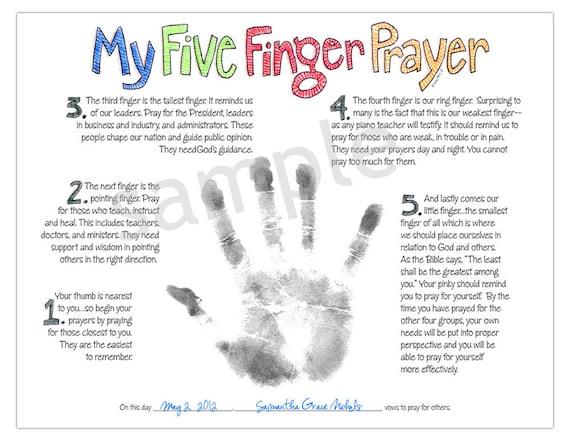 My Five Finger Prayer Hand Print Watercolor Art Print Digital Download For Kids By Marley Ungaro