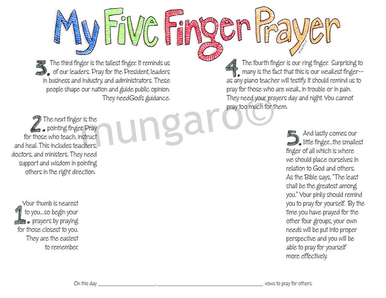 My Five Finger Prayer hand print watercolor art print digital download for  kids by Marley Ungaro