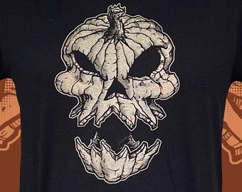 Pumpkin Skull Unisex Tshirt - Mens Halloween Jack-O-Lantern tee shirt -