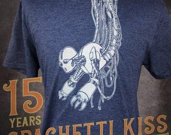 Robot Blues - Robotic Creation Unisex Crew Neck Tee - 15 Years of Spaghetti Kiss