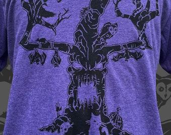 Haunted Tree Unisex Tshirt - Mens Halloween Spooky cat bat and owl tee shirt -