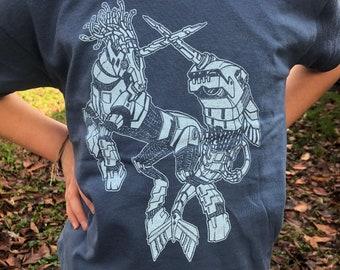 YOUTH Robotic Narwhal and Unicorn clash Tee - Cyborg fairy tale battle Tee shirt