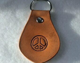 Leather Key Fob - Peace Symbol