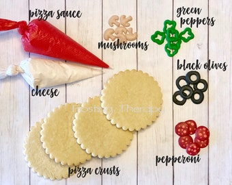 DIY Do It Yourself decorated pizza crust shape sugar cookies w/ cheese, tomato sauce, green peppers, mushrooms, pepperonis & black olives