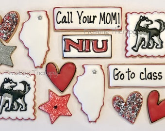 Custom COLLEGE themed decorated cookies for birthdays, holidays and just because. You choose colors, logo / mascot and state.