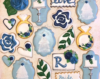 Decorated custom wedding, veil, reception, rehearsal, bridal shower, engagement cookies. Bride, groom, thank you, guests.Choose your colors