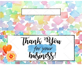 """Printable cookie back card tags 3.5"""" X 5"""" & Cookie bag toppers 4"""" X 3.25""""  4 Instant editable digital download treats Watercolor thank you"""