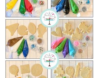 DIY Custom theme Cookie Decorating kits.  Christmas, Hanukkah, birthday party, football, unicorn, transportation, holiday, monsters