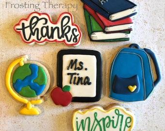 TEACHER / BACK to SCHOOL theme Thank You custom decorated cookies.  Books, Globe, Backpack, Apple, Chalkboard, School Bus, Chalkboard