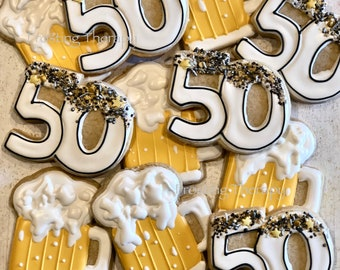 Decorated 50th Birthday party theme cookies. Beer, whiskey, diamonds, flowers, surprise, birth, year