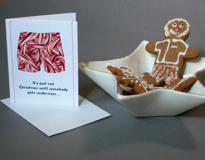 Pack of 5  BOXER SHORTS funny handmade letterpress Christmas image 0