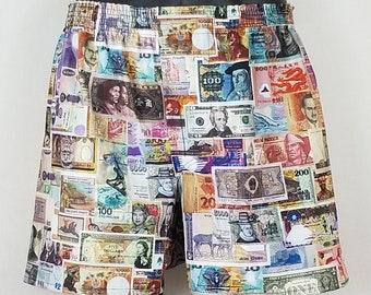 INTERNATIONAL MONEY cotton boxers - currency travel passport