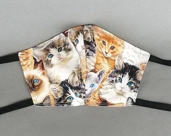 CATS 100% prewashed cotton face mask, contoured shape, fabric ties - Bonus Face