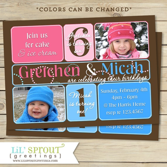 boy and girl joint birthday invitation boy and girl double party