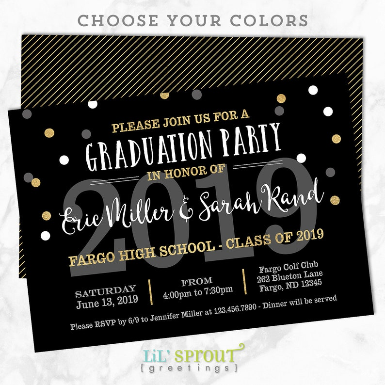 image relating to Printable Graduation Announcements identify Printable Commencement Invitation - Joint Commencement Bash Invitation- Do-it-yourself Open up Space Commencement Invitation - Cl of 2019 - Black Gold