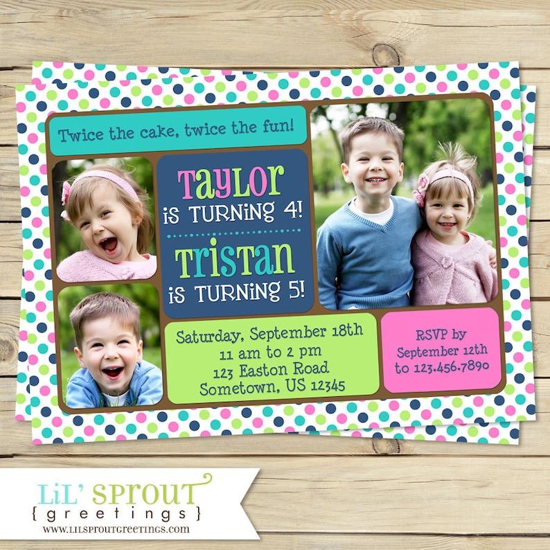 Sibling Joint Birthday Invitation Twin Photo