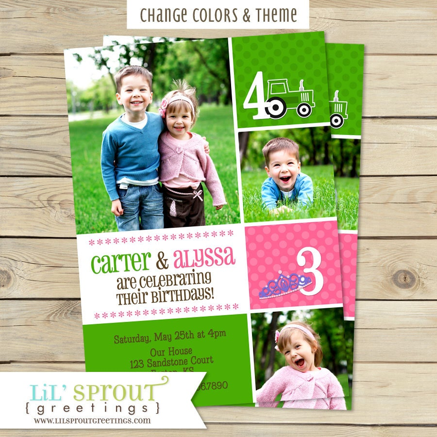 Joint Twin Photo Birthday Invitation You Pick Colors And