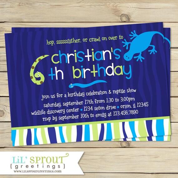 Reptile Boys Birthday Invitation