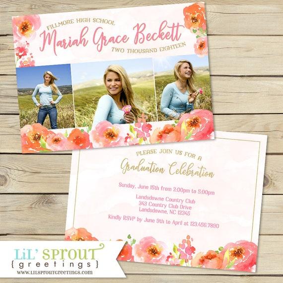 floral graduation invitation pink poppies graduation announcement