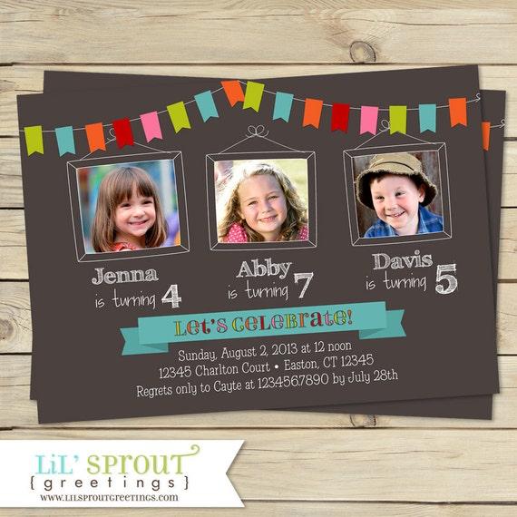 bunting triplet photo birthday invitation joint birthday etsy