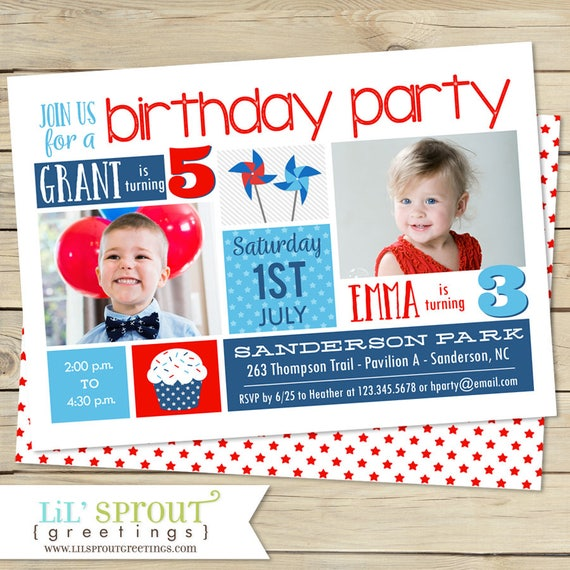 Red White Blue Sibling Birthday Invitation