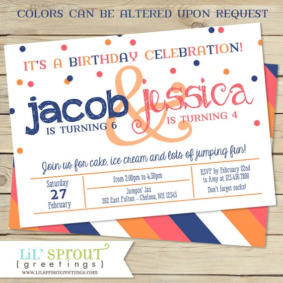 Sibling Double Birthday Party Invitation Two Child