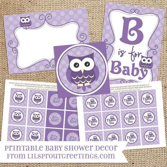 Purple Owl Baby Shower Printable Decorations Instant Etsy
