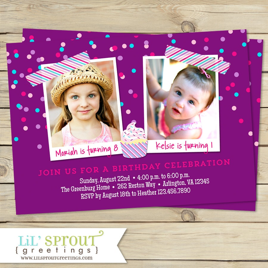 Confetti Joint Photo Birthday Invitation You Print Twin Or Etsy