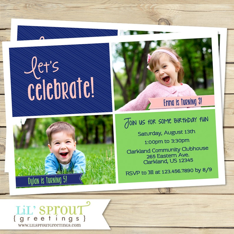Joint Birthday Party Invitation Sibling Invite Twin
