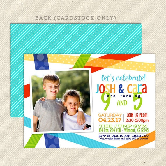 Sibling Birthday Party Invitation Bright Bash Joint