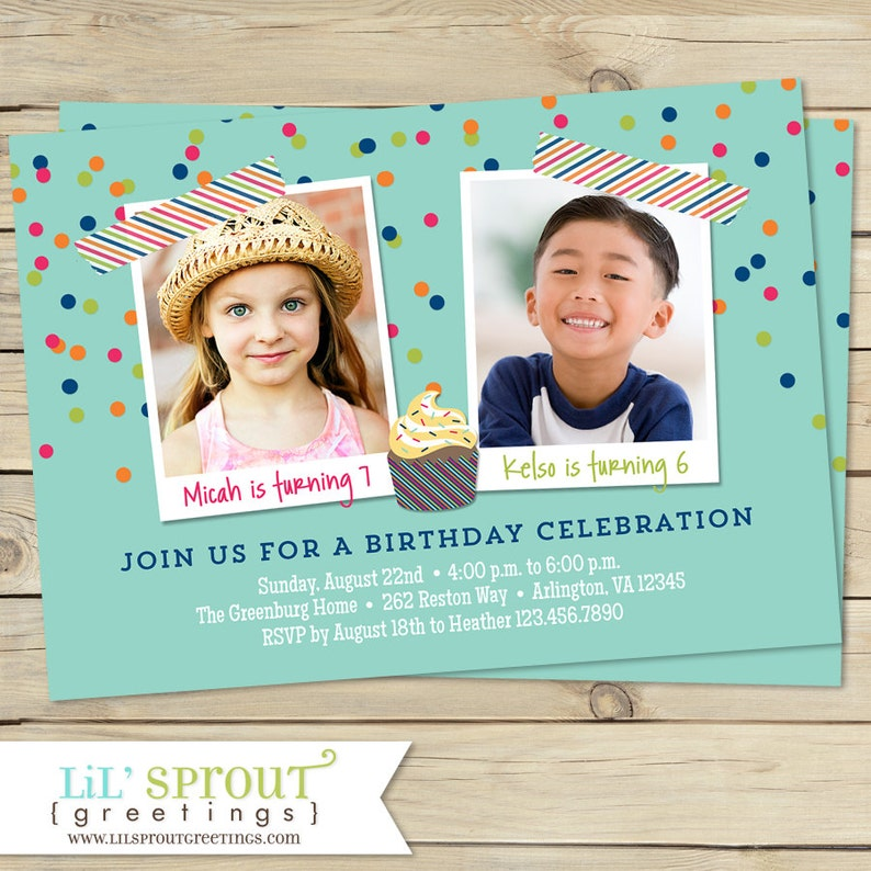 Combined Birthday Party Invitations Boy Or Girl Options