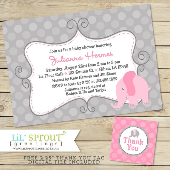 graphic regarding Free Printable Elephant Baby Shower Invitations named Elephant Female Youngster Shower Invitation - Grey Red Elephant