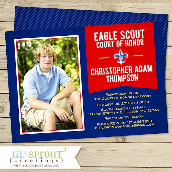 Court Of Honor Eagle Scout Invitation Bsa Ceremony Boys Etsy