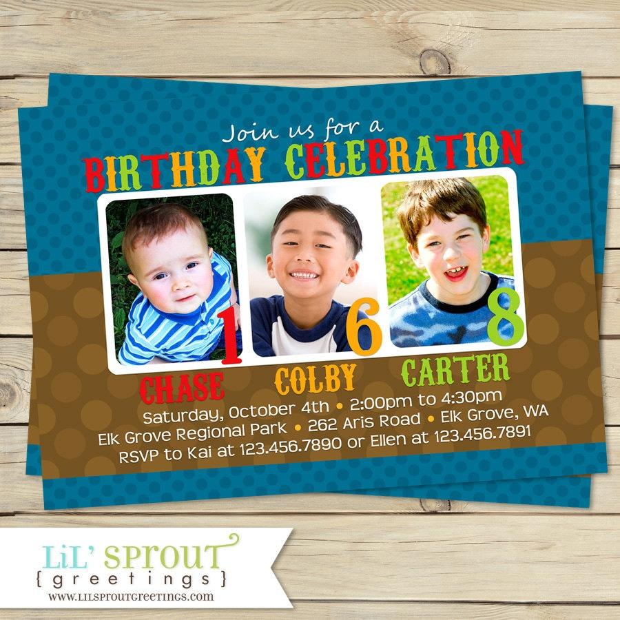 Triple Birthday Invitation Three 3 Child Birthday Party