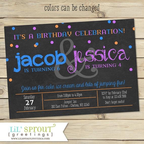 joint combined birthday party invitation twin birthday etsy