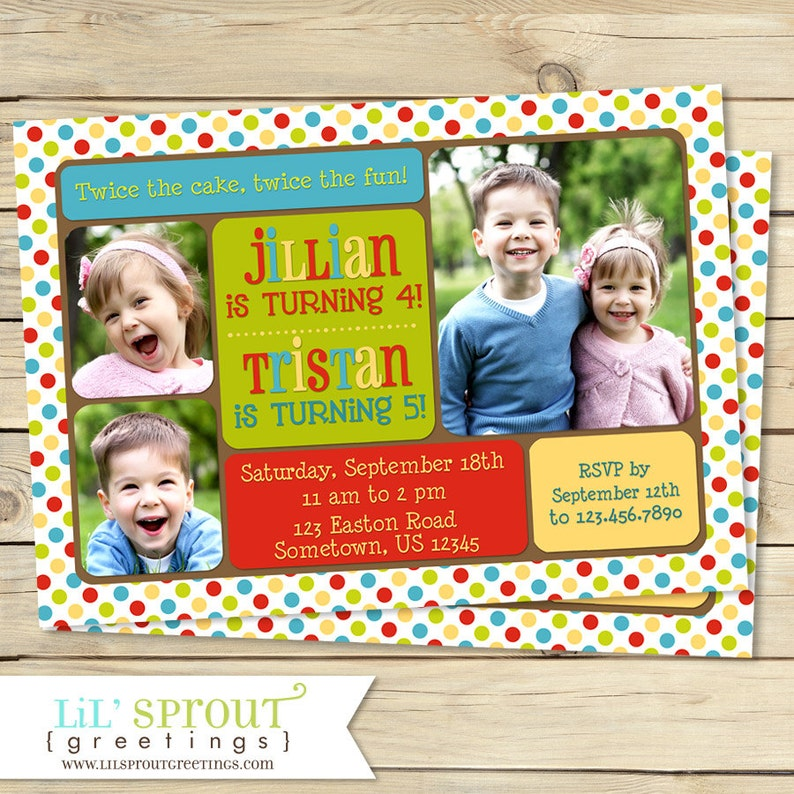 Joint Birthday Photo Invitation Sibling