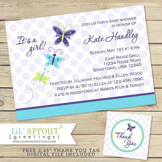 Purple Butterfly Girl Baby Shower Invitation Blue Butterfly Baby