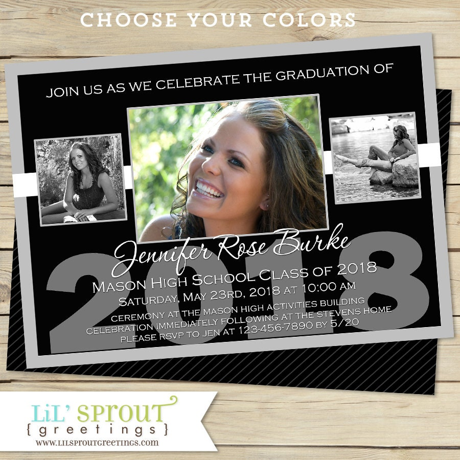 Black And White Graduation Announcement Class Of 2018 Etsy