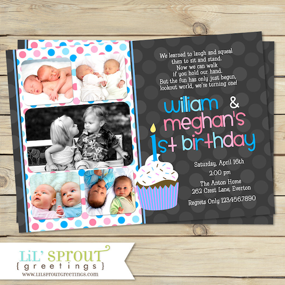 Boy Girl Twin 1st Birthday Invitation Blue Pink Double
