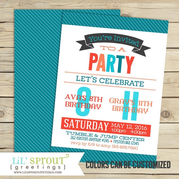 Joint Combined Birthday Party Invitation Friend Sibling Birthday
