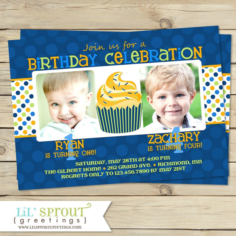 Joint Boy Birthday Invitations Brother Twin Birthday Party Etsy